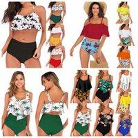 ingrosso bikini polka-23 stili donne vita a pois bikini stampa sexy costumi da bagno estate costumi da bagno foglia di loto floreale reggiseno set costume da bagno costume da bagno LJJA2277