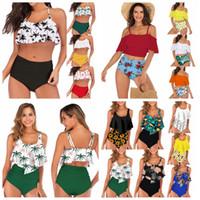 Wholesale polka dot high waist bikini resale online - 23styles Women Waist Polka Dot Bikini Sexy Print Swimwear Summer Beachwear Lotus Leaf Floral Bra Set Swimsuit Bathing Suit LJJA2277