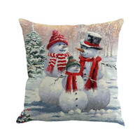 Wholesale decoratives resale online - Christmas Pillow Santa Claus Printing Dyeing Sofa Bed Home Decor Pillow Cover Fundas Cojines Decoratives For Home QQ