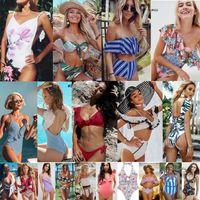 üçgen sutyen l toptan satış-2019 Yeni stiller Tek Parça Mayo bikini seksi iki adet Üçgen bikini Mayo lady seksi Çiçek Ruffles Sıcak Mayo Yastıklı sutyen Bikini