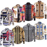 vestido de animal print para hombres al por mayor-Nuevos camisas casuales de los hombres Medusa Gold Floral Print Camisa de vestir para hombre Patrones Slim Fit Camisas Hombres Moda Moda Camisas de negocios Ropa