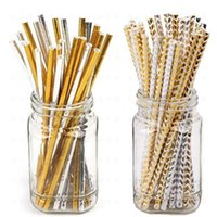 Wholesale paper straws stripes for sale - Group buy 25pcs bag Gold Heart Star Stripe Chevron Paper Straws Baby Shower Decoration Party Wedding Halloween Christmas Event Supplies JK1909