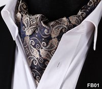тканые шарфы оптовых-Paisley Floral 100%Silk Ascot Cravat, Casual Jacquard Scarves Ties Woven Party Ascot FB