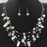 Wholesale resin stone necklace china resale online - 2019 Fashion Vintage Jewelry Sets Joker Bohemian Crystal Multilayer Colorful Beads Stone Statement Necklace Earrings Set
