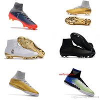 Wholesale high tops cleats kids ronaldo for sale - Group buy Top Mens High Kids Soccer Shoes Mercurial CR7 Superfly V FG Boys Football Boots Magista Obra Women Youth Soccer Cleats Cristiano Ronaldo