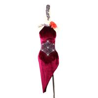 seksi latin dancewear toptan satış-Kadın Latin Dans Elbise Balo Salonu Rekabet Performans Etek Seksi Ince Şarap Kırmızı Çin Yaka Cheongsam Latin Giyim