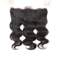 cheveux birmans achat en gros de-LEDON 13x4 Dentelle Frontal, Body Wave, BW, Couleur 1B noir, Densité 130%, 100% Extensions de Cheveux Humains Remy