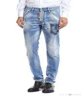 italya moda kot toptan satış-2019dS2 Yeni Varış En Kaliteli Marka Tasarımcısı Erkekler Denim Jeans Nakış Pantolon Moda Delik Pantolon İtalya Boyutu 44-54