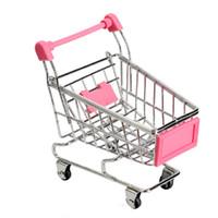 Wholesale shopping cart phone holder resale online - toy basket Mini Supermarket Trolley Phone Holder Office Desk Storage Shopping Cart Toy Handcart Eco Friendly Basket