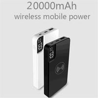 cargador móvil banco inalámbrico de energía al por mayor-Qi Banco de Energía Inalámbrico 10000 mah Pantalla Digital Teléfono Móvil Cargador Portátil Batería Externa de Carga Rápida para iPhone Xia Xiaomi