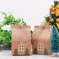 konut paketi toptan satış-Halatlar Noel Ağacı Kurabiye Poşetleri Merry Christmas Misafirler Kutuları Parti Dekoru Packaging ile 50pcs Ev Şekli Noel Şeker Hediye Çanta