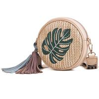 sevimli akşam çantaları toptan satış-Moda Tasarımı Yuvarlak Hasır Çanta Kadın Örgü Plaj Çapraz Vücut Çanta Sevimli Komik Kadınlar Akşam Çanta Debriyaj Çanta Omuz Çantası