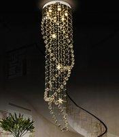 ingrosso luce cistica-Moderna cristallo goccia lampadari LED Cystal lungo Staircase lampadario Scala lampade lampada a sospensione luce lusso Programma LLFA