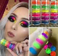 gölge tozu toptan satış-Göz farı Toz Makyaj 6 renkler Neon Göz Farı Pudra Seti Güzellik Gözler Kozmetik Yeni Sıcak Toz Gözler Makyaj 6 adet Kiti