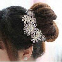haare tuck kamm großhandel-Blume Kristall Strass Blütenblatt Tuck Comb Frauen Haarnadel Haarspange Headwear Zubehör