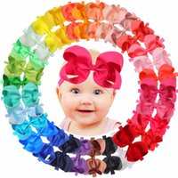 Wholesale toys for newborns for sale - Group buy 30 Colors Inch Hair Bows BabyGirls headbands Big quot Bow Soft Elastic Band for In fant Newborn ToddlersMX190917