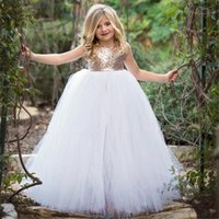 Wholesale 12 pink roses resale online - Rose Gold Sequins Sparkly Little Girls Pageant Dress Fancy Tulle Ball Gown Kids Birthday Party Wedding Flower Girl Dress Customize