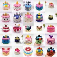 spielzeug kuchen großhandel-squishy Netter rosa Kuchen spielt 11CM bunte Karikatur-Kuchen-Endstück-Kuchen-Kinderspaß-Geschenk Squishy langsam steigende Kawaii Squishies