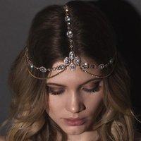 alın için mücevherat toptan satış-Kadınlar Rhinestone Waterdrop Baş Zinciri Şapkalar Saç Takı için Kristal Forehead Kafa Düğün Gelin Saç Zinciri baş parça