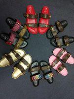 boncuk sandaletleri toptan satış-2017 moda eğlence elmas boncuk tatlı tutam düz sandalet Bohemian sandalet kadın sandals35-40-No kutusu