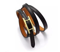 Wholesale gold h buckle for sale - Group buy H belt buckle three layer leather kell designer bracelets bangle for mens and women party couples lovers gift luxury jewelry