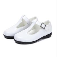 zapatos de la escuela de cuero genuino de las niñas al por mayor-Niñas zapatos de cuero genuino otoño moda antideslizante plana con fiesta infantil boda princesa zapatos para niñas Escuela Negro
