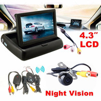 Wholesale wireless backup camera monitor kit resale online - 4 Car Rear View Monitor Wireless Car Backup Camera Parking System Kit New Arival Hot Sale Dropshipping YL5