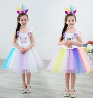 Wholesale knee dresses online - Girl Unicorn Dresses Princess Girls Cosplay Dress Up Costume Kids Party Tutu Gown Clothing Children Flower Clothes dress KKA6568