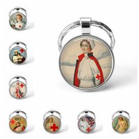 Wholesale souvenir vintage pendant for sale - Group buy Fashion Vintage Nurse Picture Keychain Glass Cabochon Pendant Charm Keyring Car Key Man Women Favorite Gift Souvenir