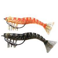 señuelos de camarón de plomo al por mayor-12 cm camarón suave Ojos luminosos serie de artesanía La más alta calidad 17 g camarón suave Cabeza de plomo señuelos de pesca