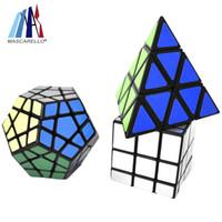 juego de cubos de juguetes al por mayor-Magic Cube Set, Speed Cube Bundle Pyraminx Pyramid Magic Cube Megaminx Mirror Speed Puzzle Cube / Toys Caja de regalo para niños y adultos