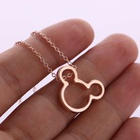 ingrosso animali personaggi dei cartoni animati-Cute Simple Mouse Necklace Cartoon Animal Character Miki Mouse Orecchie Head Face Silhouette Collane per bambini Neonate