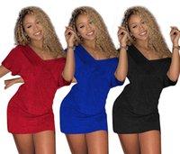 ropa de dama azul al por mayor-Diseñador de la marca mujeres mini vestido profundo con cuello en v carta de impresión faldas cortas sexy casual primavera verano dama ropa negro rojo azul 22