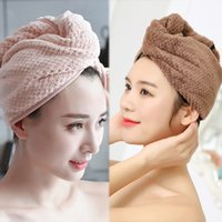 Wholesale rolled cotton hair for sale - Group buy Super Absorbent Hair Drying Towel Turban Bathing Cap Bathrobe Hat Head Wrap GIFT