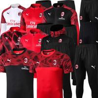 Wholesale ibrahimovic training suit resale online - Size S XL AC Milan IBRAHIMOVIC Men Soccer Full Kit zipper Training Jacket Milan football Warm up suit Tracksuit tuta sportiva