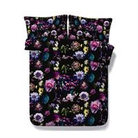 conjunto de cama rosa negra venda por atacado-Floral Soft Black Set cama Blossom Consolador capa do edredon Jardim Flor capa de edredão borboleta Colcha Mulheres menina colorida Tampa Bed Rose