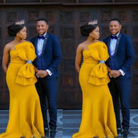 Wholesale maternity dresses for prom for sale - Group buy 2019 Aso Ebi Big Bow Prom Dresses For Women South African Satin Strapless Evening Gowns Dubai arabic Yellow Floor Length Formal Party Dress