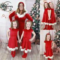 ropa de fiesta roja para mujer al por mayor-Ropa de diseño para mujer oscilación niñas Hija Red de Navidad vestido de fiesta vestido de Santa madre vestido caliente de la gota