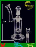 el şişirilmiş cam vazo perc toptan satış-QBsomk D020 Cam Bubbler Kül Catcher Fıskiye el üflemeli cam vazo perc su percolator İki fonksiyonları Cam su Boru 18.8mm ortak boyutu H