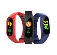 ingrosso mi orologio 4-Drop Ship M4 intelligente Bracciale Fitness Tracker PK Mi banda 4 Fitbit Sport Style intelligente vigilanza 0.96 pollici IP67 impermeabile frequenza cardiaca pressione sanguigna