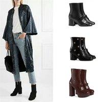 sapatos pretos bordados venda por atacado-2019 Botas De Grife Mulheres Plataforma Ankle Boot Bordado Moda Preto Bordeaux Sapatos De Couro Real Bota De Inverno com Caixa EUA 11