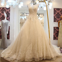 Wholesale wedding dress transparent cap sleeves for sale - LS61282 Like White Wedding Dresses Sheer Straps Sexy Lace Wedding Gown A Line Transparent Back Bow Bridal Wedding Gowns