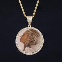 e 14k de oro al por mayor-14k oro helado fuera de encargo foto colgante foto grabado collar letras regalo especial del día de la madre