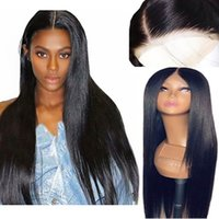 Wholesale white wig free shipping resale online - Inches Long Black Wig Straight Synthetic Lace Front Wigs for Women Natural Color Middle Part inch Heat Resistant Fiber