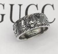 anillos de plata de ley negro al por mayor-Vintage 925 plata esterlina gg anillos 3D negro cabeza de tigre único anillo animal para hombre mujer Biker Punk joyería amante de la marca regalo de lujo