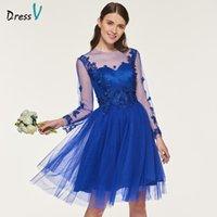 vestido de dama de honor azul oscuro real al por mayor-