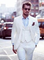 Wholesale one button designer suits resale online - Best Selling White Mens Suits Slim Fit Groomsmen Wedding Tuxedos Three Pieces Designer Blazers Formal Suit With Jacket Vest And Pants
