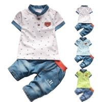 Wholesale summer clothes for shirt jeans for sale - Group buy Baby boys summer clothes newborn children clothing sets for boy short sleeve shirts jeans cool denim shorts suit