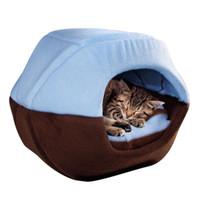 katlanabilir ped toptan satış-Kış Kedi Köpek Yatak Ev Katlanabilir Yumuşak Sıcak Hayvan Yavru Mağara Uyku Mat Pad Yuva Kulübesi Pet Malzemeleri LBShipping