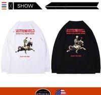 ingrosso t-shirt bianche lunghe da uomo-PASSAGGIO Rap Tour maniche lunghe maglia della maglietta del cotone Travis Scott Astroworld STAGIONE SUPERA IL T Mens allentati maniche lunghe magliette bianche